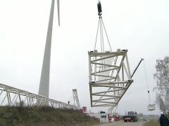 Windmill construction Stock Footage