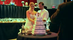 Bride and Groom Cutting Cake at Wedding 2 Stock Footage