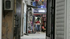 Dirty alleyway of shops (HD) c Stock Footage