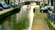 Amsterdam canal boat Stock Footage
