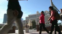 Crowded Vegas Strip Tourists Stock Footage