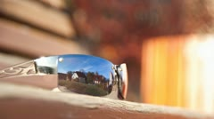 Nice Weather cloudy Sky Timelapse reflected in Glasses Stock Footage