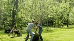 planting birch tree 3 - stock footage