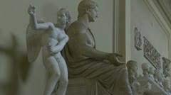 Roman statues at the Vatican Stock Footage