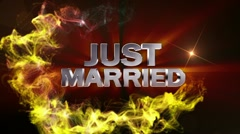 JUST MARRIED Text in Particle (Double Version) - HD1080 Stock Footage