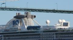 Cruise Ship Passes Close Under Vancouver Bridge Stock Footage
