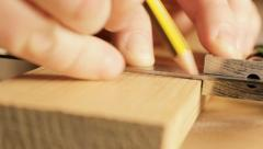 Marking line on timber Stock Footage