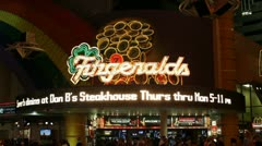 Entrance to Fitzgeralds Hotel and Casino at Night Stock Footage