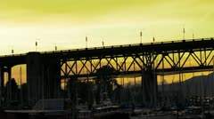Vancouver Canada Sunset Over Burrard Bridge Stock Footage