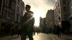 Slo mo City Street silhouette - stock footage