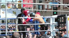 Muay Thai Match Knock-Down and Count Stock Footage