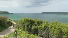 Walking along the Coastal Path and Camel Estuary at Padstow, Cornwall, England Stock Footage
