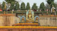 Stock Video Footage of Bodhgaya Pilgrims  - Medium Shot