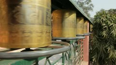 Bodhgaya Prayer Wheels 01 Stock Footage