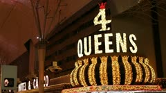 4 Queens Hotel and Casino Sign Stock Footage