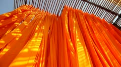Newly dyed fabric garment factory, India Stock Footage
