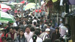 Busy shopping market street in Shanghai, China Stock Footage