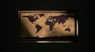 Framed Vintage Flat Map of Earth Stock Footage
