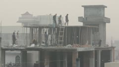 Indian Construction Crew Stock Footage