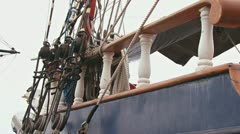 Tall Ship Railing and Rigging Pan to Helm Stock Footage