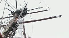 Tall Ship Mast and Rigging - Low Angle Pan 2 Stock Footage