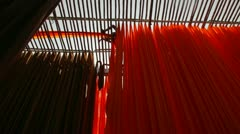 Newly dyed fabric, garment factory, India Stock Footage