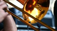 Stock Video Footage of A man playing on trombone
