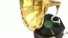 Vintage Gramophone playing a record Stock Footage