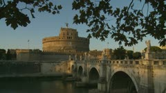 Castel Sant'Angelo & bridge in Rome Stock Footage