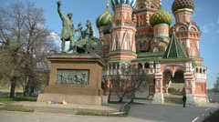 Monument to Minin and Pozharsky and Saint Basil's Cathedral Stock Footage