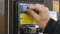 Phone Booth CU 1 - Inserting Quarters Stock Footage