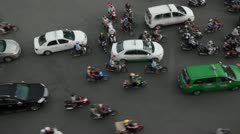 Vietnamese Traffic at Six Way Intersection Stock Footage