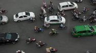 Stock Video Footage of Vietnamese Traffic at Six Way Intersection