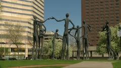 Family of man, sculpture from Expo67, montage Stock Footage