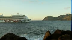 Cruise Liner Hawaiian Islands Stock Footage