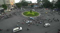 Busy Traffic in Vietnam at Six Way Intersection Stock Footage