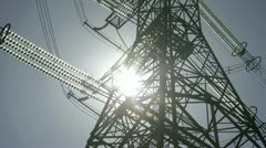 Power pylons close up Stock Footage