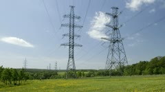 power line on the field - stock footage
