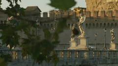 Rack focus statues at Castel Sant'Angelo & tree in Rome (two) Stock Footage