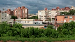 Video filming of Kiev city from moving train (59.94fps) Stock Footage