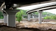 Video filming of new bridge construction from moving train (59.94fps) Stock Footage