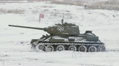 Russian Tank T34 in winter Stock Footage