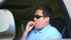 Fast Food Fries - Man Eats in Car Stock Footage