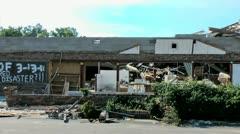 Tornado damage pan 2 Stock Footage