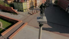 Aerial view of The Sigismund Column in Warsaw by HeliDog_Aerials Stock Footage