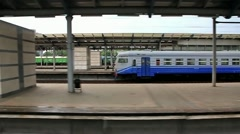Video filming of railway platform without people from moving train (59.94fps) Stock Footage