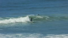 Surfer Rides Wave Huntington Beach 4 Stock Footage