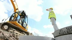 Construction worker, building drainage Stock Footage