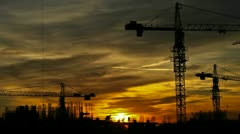 Construction At Dusk HD Stock Footage