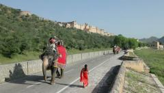 Elephants with tourists, Jaipur, India Stock Footage